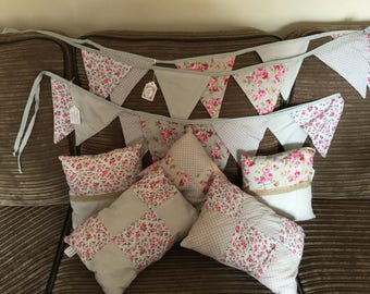 Handmade vintage shabbychic Grey & pink Floral Bunting and scatter cushions by tattynatties