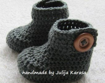 Crochet baby booties, grey boots for baby, handmade newborn booty, baby shower gift, baby booties crochet