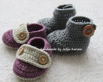 Crochet baby booties and shoes, two pair baby set, handmade baby booties, baby loafers, newborn boots crochet, baby booty, baby shoes