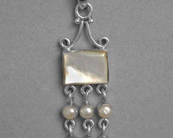 Vintage Dangling Mother of Pearl Sterling Silver Pendant p944