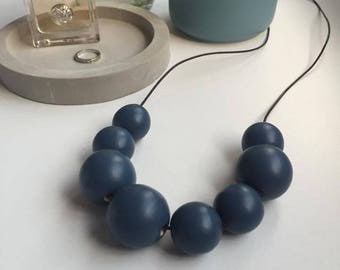Hand Painted Wooden Beaded Necklace 'Winter Blue'
