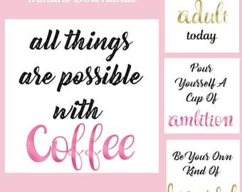 Instagram Marketing Quote Bundle Pack, Social Media Kit Templates, Inspiration, Instant Download