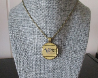 Recycled vinyl record sleeve necklace - Verve Records!""