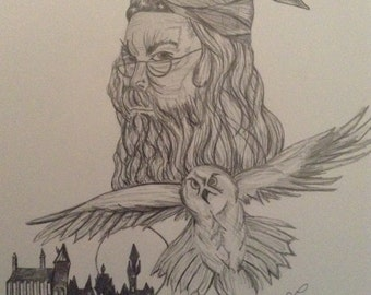 Original hand drawn Harry Potter drawing or a character of your choice from a book or film