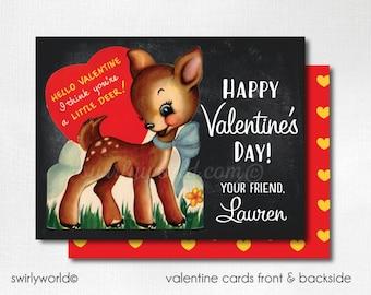 Vintage 1950s Deer Valentine's Day Cards, Cute Valentines for Children, Kids Valentine Cards, Classroom Valentine Cards for Kids  DI-VAL66