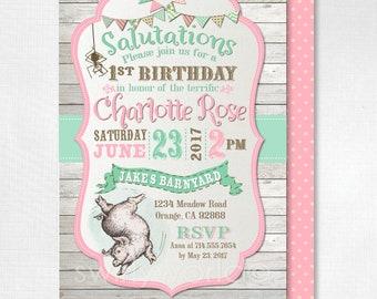 Printed Charlotte's Web Invitations, Vintage Charlotte's Web Birthday, Charlotte's Web Theme Party, Girl 1st Birthday Invitation, DI-3020FC