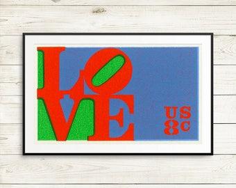 Love poster, Love decor, retro wall art, love artwork, love wall art, 1960s posters, 1960s art, retro posters, vintage poster art, halftone