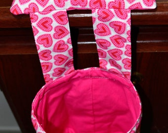 Pink and Red Hearts Pincushion with Thread Catcher, Scrap Caddy