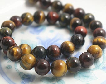 10mm Mixcolor Tigereye,Tigereye beads, Natural and Smooth Round Beads, 15 inch strands