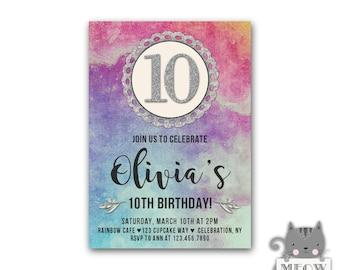 Birthday invitations for girls Etsy