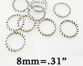 Connector Rings, 25 pcs, Twisted Silver  **FREE Shipping with orders 10 dollars+ **