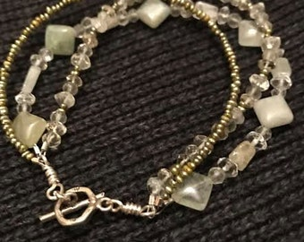 Green Amethyst, Pearls, Aquamarine, Lemon Citron, Sterling Silver, Bride, 3 strand woman's bracelet with sterling silver toggle closure QB27