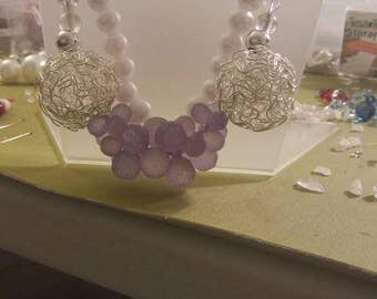Purple and white cluster necklace and earrings