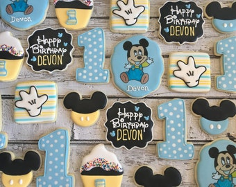1 Dozen Baby Mickey Birthday Decorated Cookies