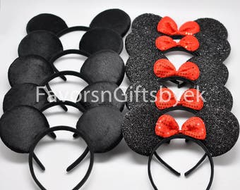 10 Sparkly Minnie Ears Mickey Ears Minnie Mouse Ears Mickey Mouse Ears Headbands RED Bows Sparkle Ears