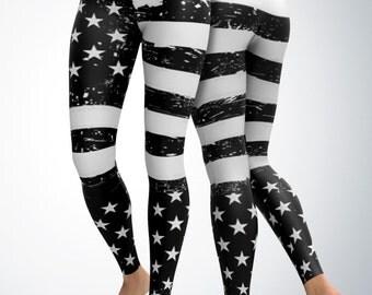 Leggings / Yoga Pants - USA Black and White Leggings