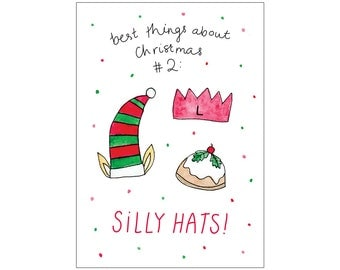 Christmas card: SILLY HATS (best things about Christmas #2)