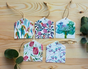5Pack Mixed designs Australian Native Flowers eco friendly Bamboo paper Birthday Gift tags