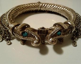 1960's Antique Estate Tibetan Silvertone Chain Link Mesh Double Snake Serpent Bangle Bracelet 60 MM