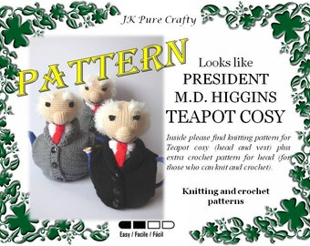 Knitting Pattern For Michael D Higgins Tea Cosy : Tea cosy pattern Etsy