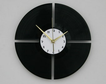 Minimal vinyl wall clock, ideal for home decor, unique gift present and hand made art, interior design for music fan, 025