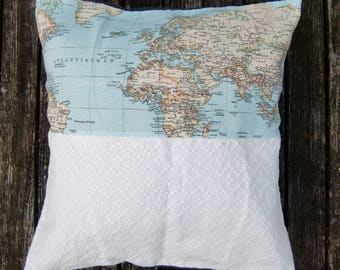 pillow case - world map - white - grey