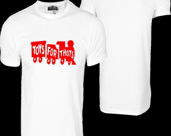 """NEW!! Exclusive """"Toys For THOTS"""" Cotton CrewNeck T-Shirt (Toys For Tots LOGO)"""