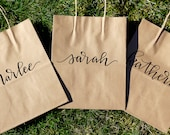 Personalized Gift Bags - Bridesmaid Gift, Kraft Brown Gift Bag, Gift Bag, Hand Lettered Gift Bag, Embossed, Personalized Bridesmaid Gift