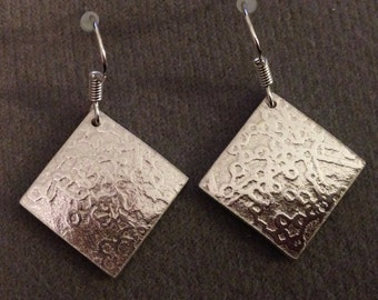 Patterned square sterling silver earrings