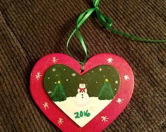 2017 heart Christmas ornament