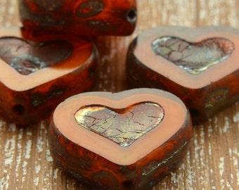 Orange Czech Glass Picasso Heart Beads, Czech Glass Hearts, Czech Glass Table Cut Beads, UK Czech Beads