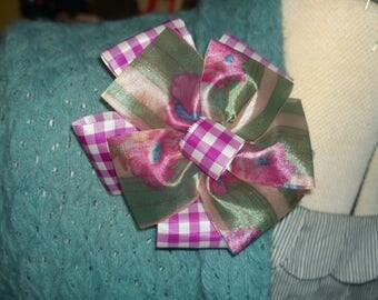 Brooch or Hair Clip Purple Gingham and Green Stripe Flowers Pink Aligator clip fall harvest floral broach