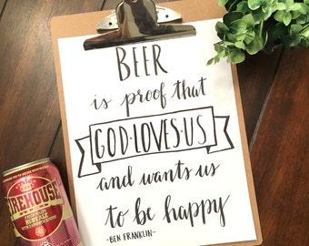 Beer Quote - Benjamin Franklin - Bar Decor