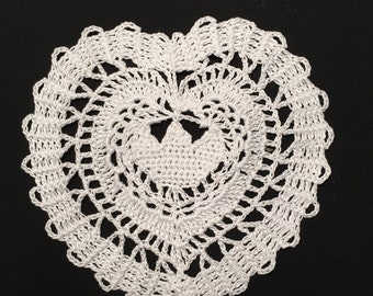 Crochet Doilies(Set of 6),Crochet Cotton Yarn Doilies(Set of 6), Handmade Doilies(Set of 6), Crochet Coasters(Set of 6), Heart shape doilies
