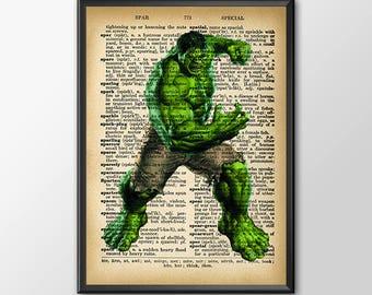 Hulk Digital Print Hulk Poster Superhero Poster Movie Poster Avengers Print Marvel Wall Art Dictionary Print Kids Decor Nursery Decor