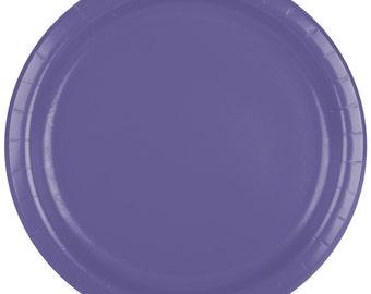 """25 (9"""") Purple Round Paper Plate, Wedding Supplies, Wedding, Wedding Decor, Plastic Plates, Party Supplies, Paper Plates, Wedding, Decor"""