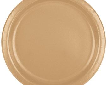 "25 (7"") Gold Round Paper Plate, Wedding Supplies, Wedding, Wedding Decor, Plastic Plates, Party Supplies, Paper Plates, Wedding"