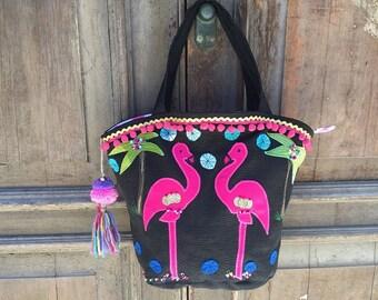Summer festival bag/boho summer bag/summer market bag/ibiza beach bag/everyday bag/summer weekend bag/bag tote big/womens beach bag/flamingo