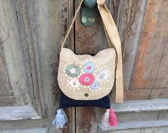 Boho festival bag / hippie messenger bag/ vegan hobo bag / festival bag / gypsy messenger bag / gypsy sling bag / bohemian sling bag