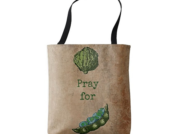 Bags, Totes, Cloth Bag, Pray for World Peas Tote, Bags, Tote, Market Bags, Medium Bag, Cloth Bags, Reusable Bags