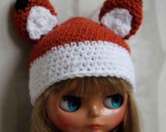 Blythe fox hat white/red brown