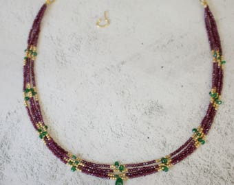 Genuine Tsavorite Garnet Beads With Rhodolite Strands and 18k Gold Necklace with Matching Earrings