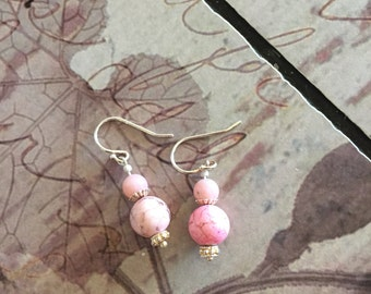 Pink turquoise and sterling silver earrings