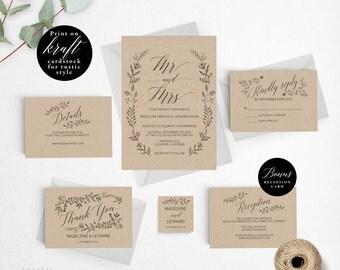 Rustic Wedding Invitation Template, Mr Mrs Wedding Invitation Printable, Vintage Invitation, Cheap Invitation,DIY PDF Instant Download #E008