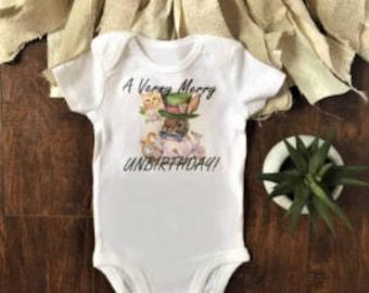 Alice in wonderland onesie® - unbirthday - baby month onesie® - disney onesie® - alice in wonderland, baby, clothes, outfit, birthday, first