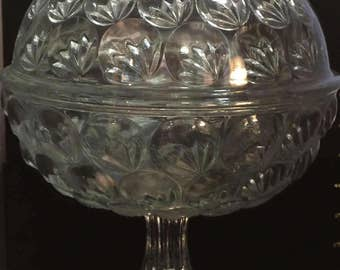 Pressed Glass Covered Compote Dish