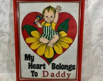 Kitsch Vintage Baby Print, Nursery Art, My Heart Belongs To Daddy, Father's Day Gift, Nursery Decor, Red Frame, Yellow Flower