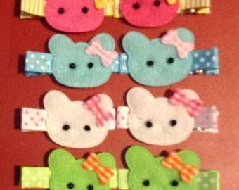 Handmade Set of 6 Pairs ( 12 Clips Total ) Hello Kitty Clips