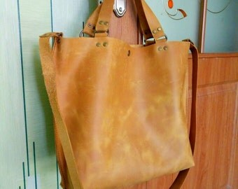FREE SHIPPING, ginger leather bag, leather women bag, leather tote bag, leather diaper bag, Shoulder Bag, Distressed leather Tote