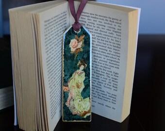 Geisha Bookmark,Shabby Chic Rose Gift,Literary Art Bookmark,Colorful Bookmark,Jeweler Resin Gift,Art Bookmark,Unique Bookmark,Romantic Gift